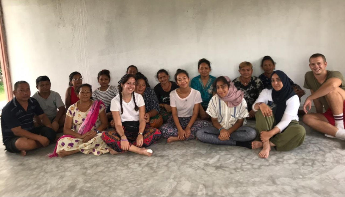Research interns from the University of Nottingham meet female farmers in Nepal