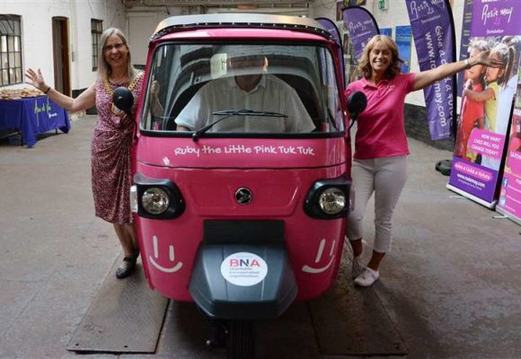 Pink tuk tuk donated to Bingham-based Rosie May Foundation by BNA Foundation will be driving around Newark